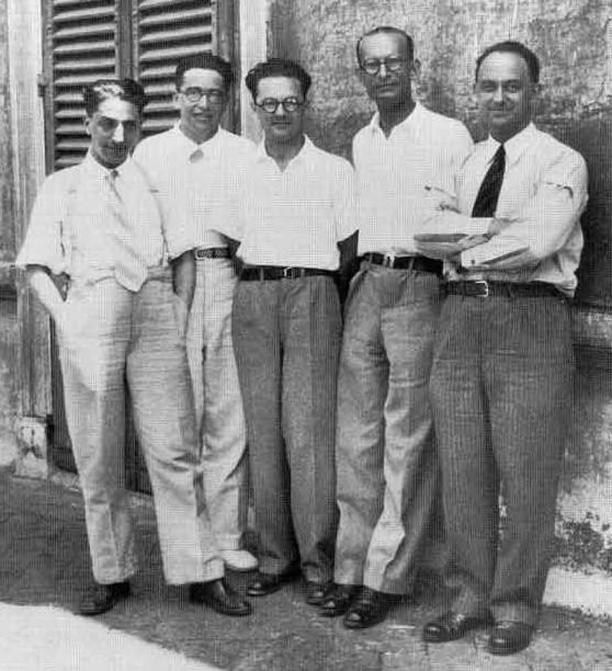 Da esquerda para a direita: Oscar D'Agostino, Emilio Segre, Edoardo Amaldi, Franco Rasetti e Enrico Fermi