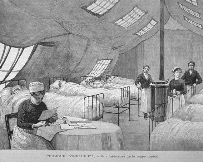 Gravura em madeira mostrando enfermeiras atendendo pacientes em Paris durante a pandemia. (Fonte: Shutterstock/Reprodução)