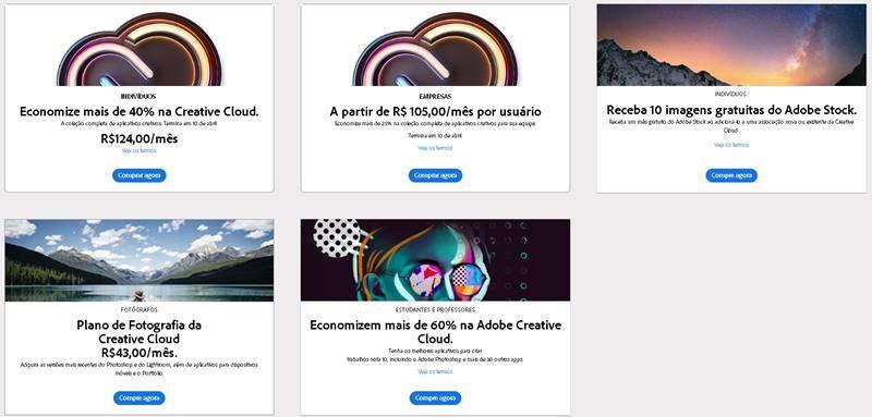As opções de assinatura do Creative Cloud