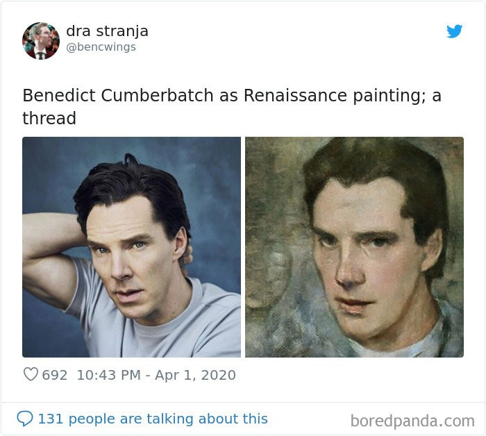 O ator Benedict Cumberbatch foi um dos artistas que tiveram sua foto transformada em uma pintura renascentista.