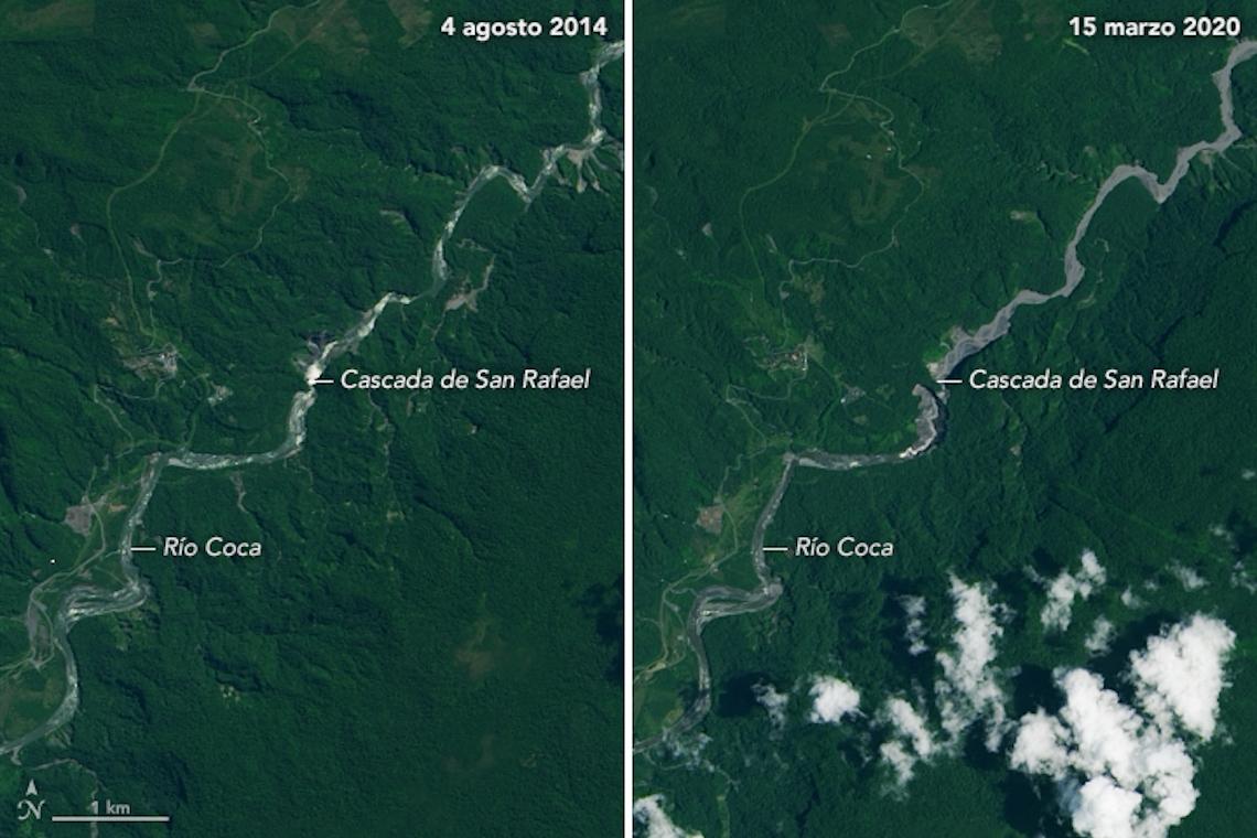 Imagem comparativa entre antes e depois do desaparecimento da cachoeira