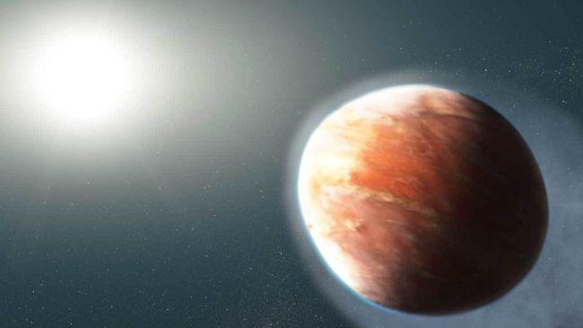 Concepção artística do exoplaneta.(Fonte: NASA, ESA e J. Olmsted (STScI))