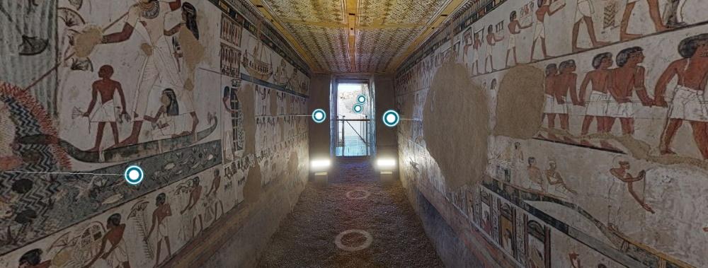 Tumba de Menna: tour permite clicar nas indicações e saber detalhes específicos sobre cada inscrição, pintura ou ambiente