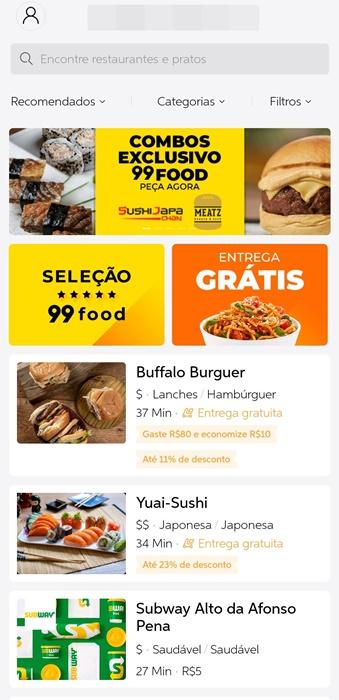 Aplicativo conta com variedades de restaurantes disponíveis