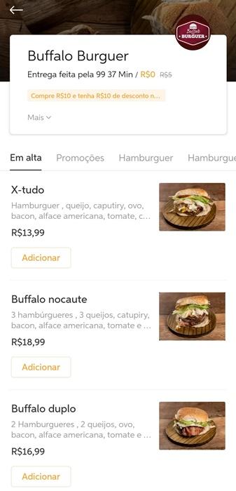 É possível consultar o cardápio dos restaurantes