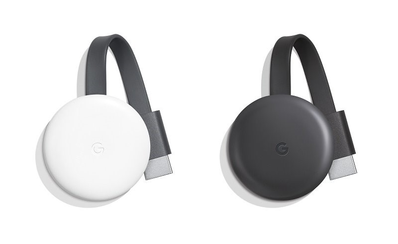 Chromecast da terceira geração pode ser encontrado em duas cores.
