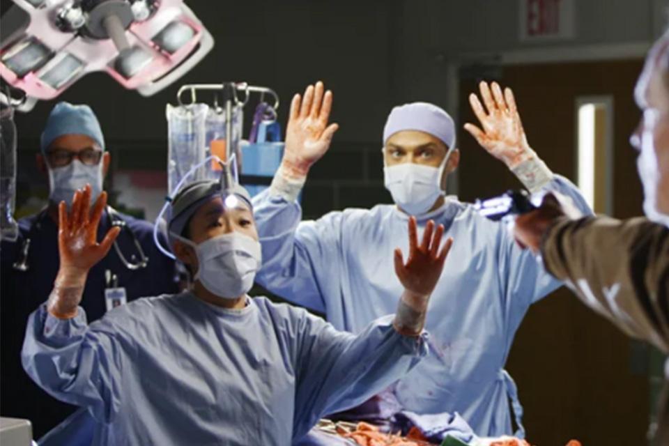 Uma das cenas do tiroteio no hospital