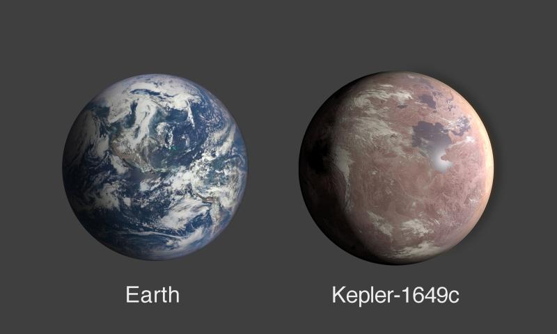 Comparação entre os tamanhos da Terra e do Kepler-1649c