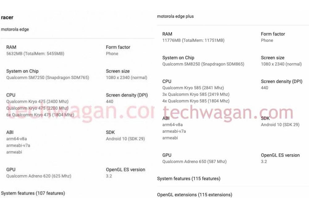 Captura de tela do Google Play Console com supostas especificações