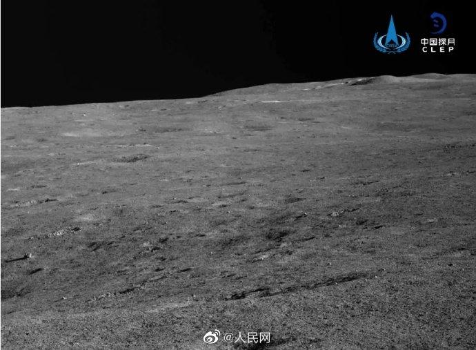 Imagem capturada pela sonda Chang'e 4 da parte mais escura da Lua