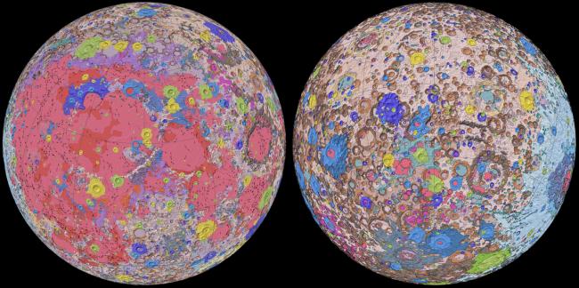 Novo mapa geológico da Lua. (Fonte: SPACE/ NASA/ USGS/ GSFC)