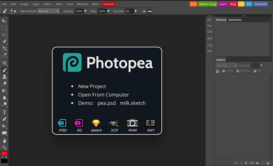 Photopea aceita a maioria dos formatos de arquivo