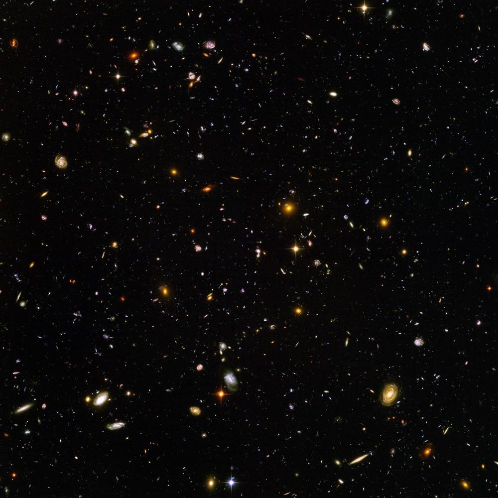 O mais longe que o Hubble foi capaz de ver: uma pequena região do espaço na constelação da Fornalha, a 45 milhões de anos-luz da Terra.