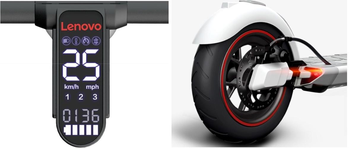 Os freios e o painel em LED do patinete.
