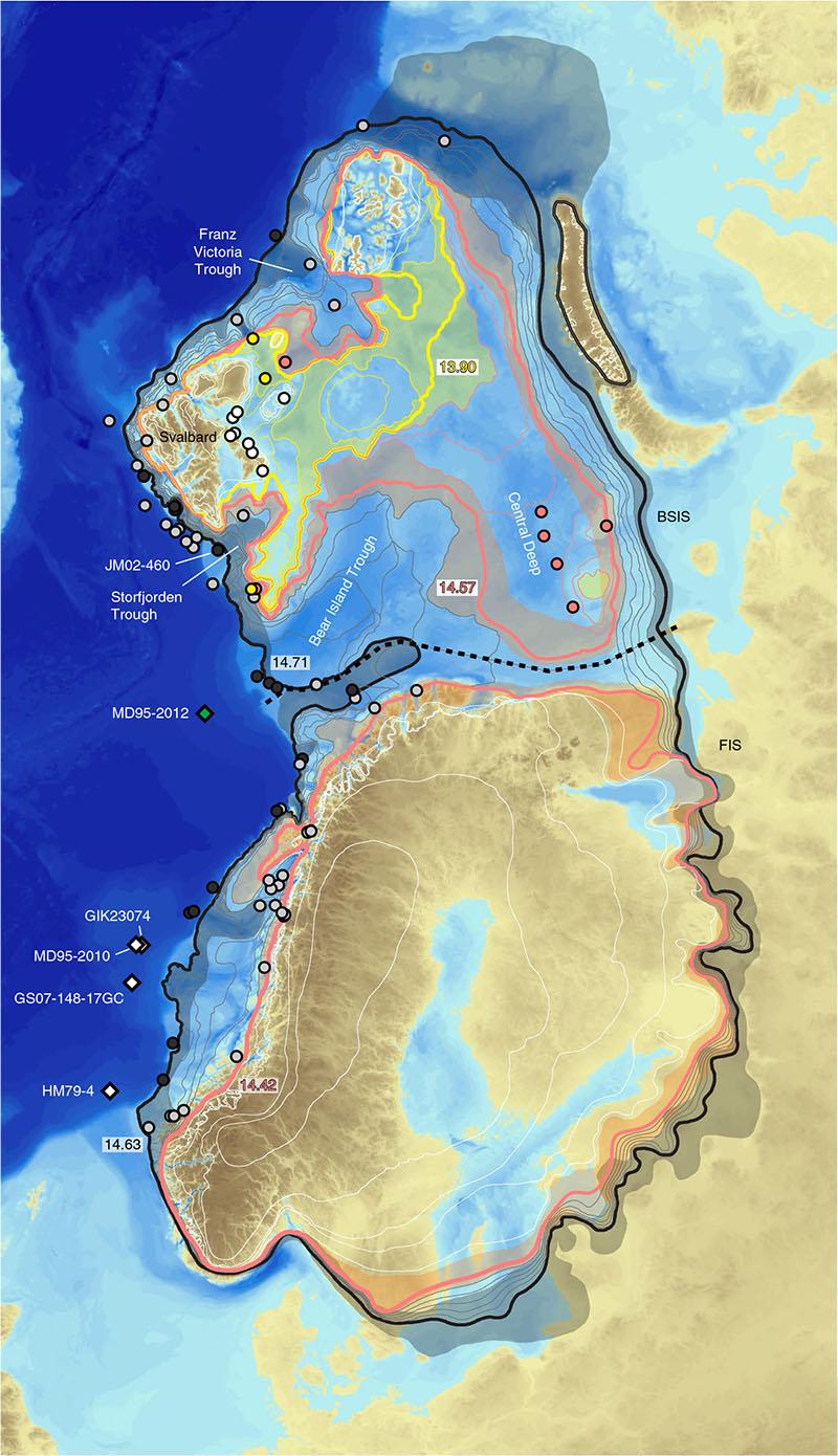Extensões de gelo identificadas há milhares de anos.
