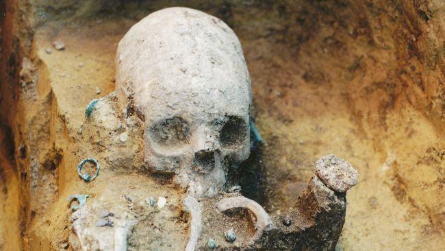 Imagem do Museu Wosinsky Mór, Szekszárd, na Hungria, mostra crânio do túmulo 43 durante a escavação. (Fonte: LiveScience / Museu Wosinsky Mór)