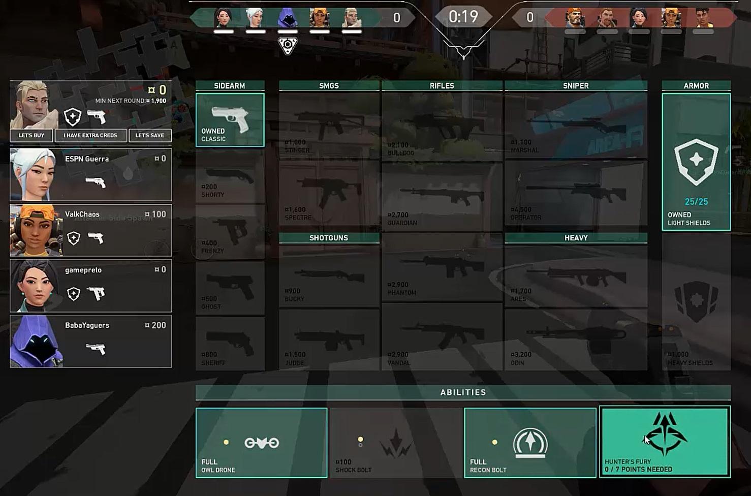 Toda rodada começa com uma fase de compras na qual você abastece suas armas e poderes