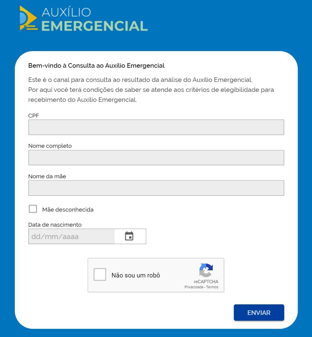 O novo site do auxílio dispensa o código de SMS. (Fonte: Consulta Auxílio/Reprodução)