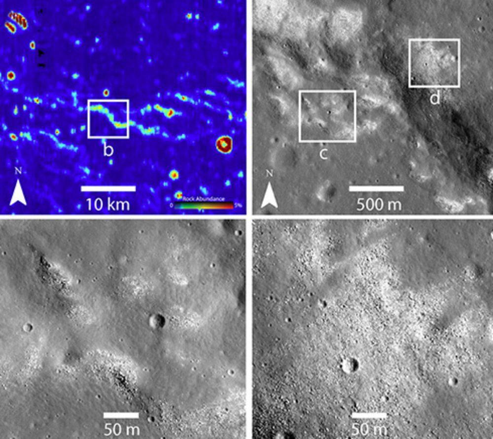 A análise em infravermelho (acima, à esquerda) revelou onde o regolito está ausente.