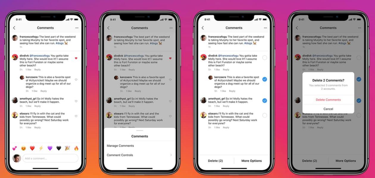 Remoção de comentários no Instagram em versão iOS.