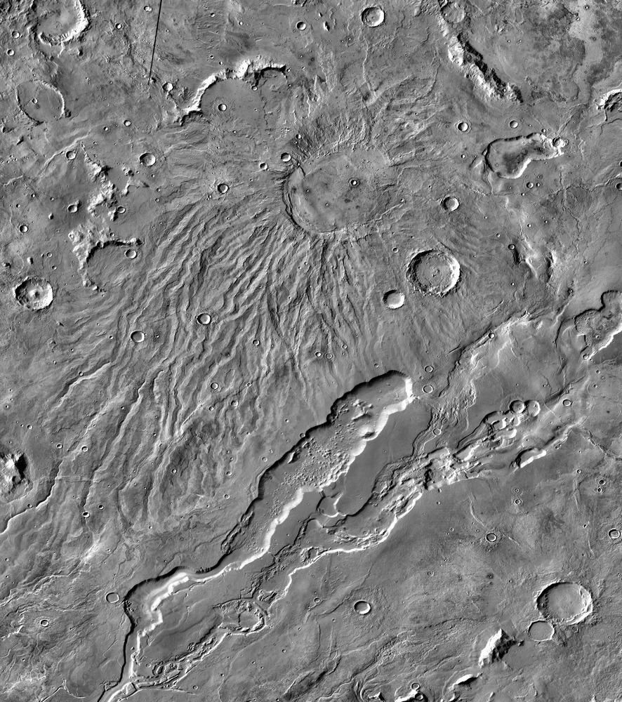 O Hadriacus Mons, vulcão onde se encontram os tubos de lava mais promissores à ocupação humana.