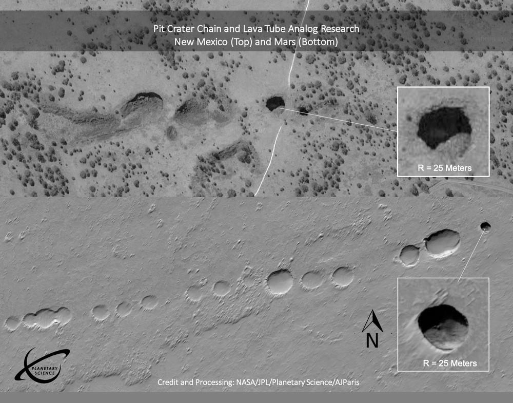 Tubos de lava na Terra (na foto, acima) e em Marte (embaixo).