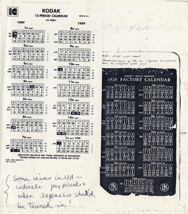O calendário usado na Kodak por vários anos