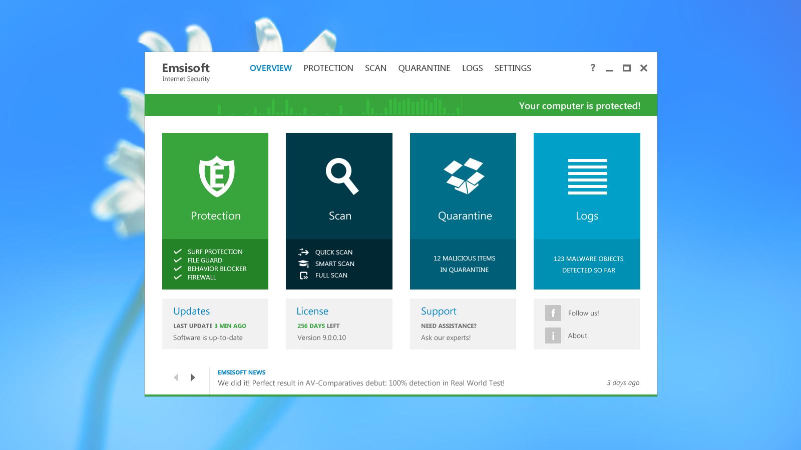 Visual do Emsisoft Antivírus