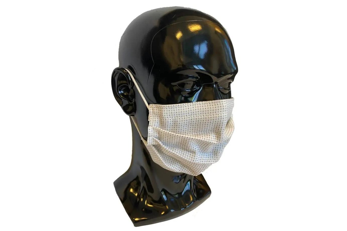 Máscara feita de tecido com pontos de prata elementar e zinco. (Fonte: Indianapolis Monthly)