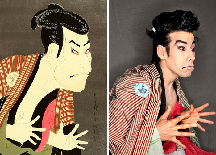 Retrato de Sharaku Kabuki Portrait. Fonte: Bored Panda / Divulgação