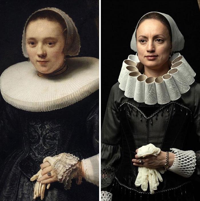 Retrato de Uma Mulher com Luvas - Rembrandt. Fonte: Bored Panda / Divulgação