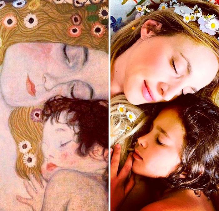 """""""Mãe e Criança"""", Gustav Klimt"""