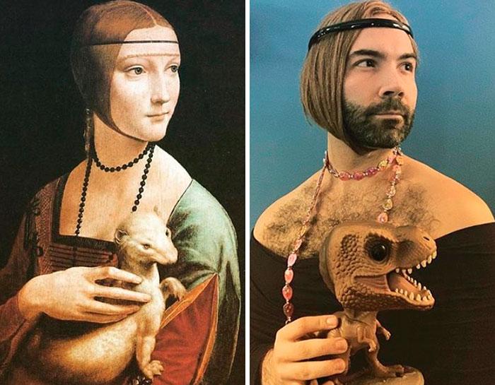 """""""Dama com Arminho"""", por Leonardo da Vinci. Fonte: Bored Panda / Divulgação"""