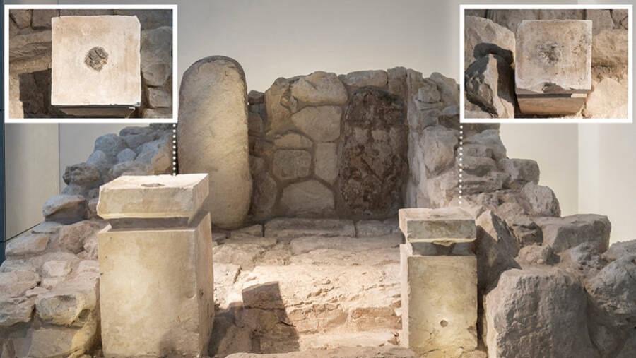 O altar do santuário de Tel Arad foi reconstruído no Museu de Israel e mostra onde eram queimados o incenso e a cannabis