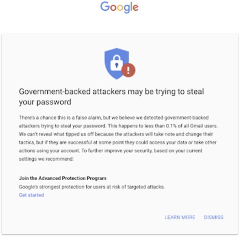 Aviso do Google sobre phishing para pessoas ligadas a campanhas presidenciais dos Estados Unidos.