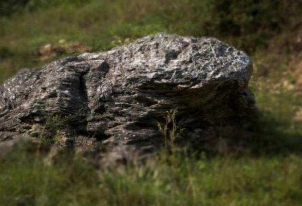 A pedra em formato de sapo que estaria protegendo o vilarejo. (Fonte: Oddity Central/Reprodução)