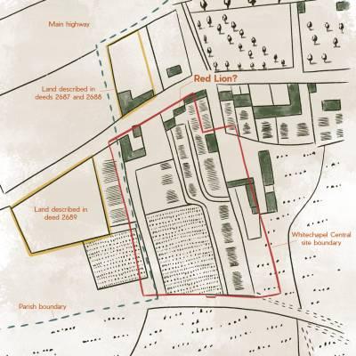 Mapa de 1703 com a possível localização do teatro. (Fonte: Archaeology South-East - UCL)