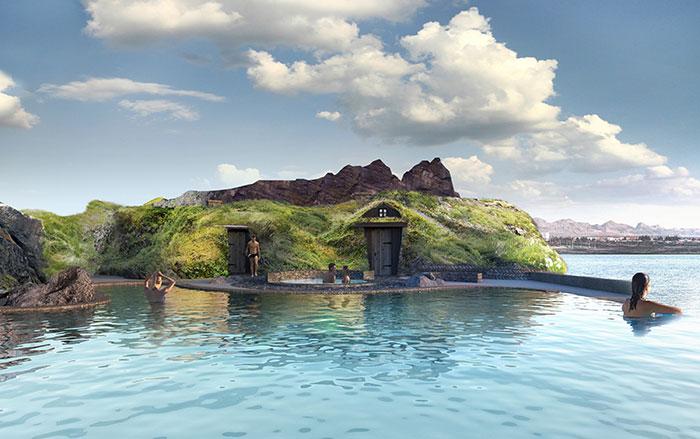 As casas de gramas características da Islândia. (Fonte: Sky Lagoon/Reprodução)