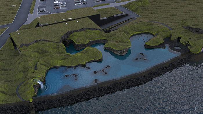 A esperada vista de cima do Sky Lagoon Islândia. É possível ver a borda infinita, a lagoa geotérmica e as casas de grama. (Fonte: Sky Lagoon/Reprodução)
