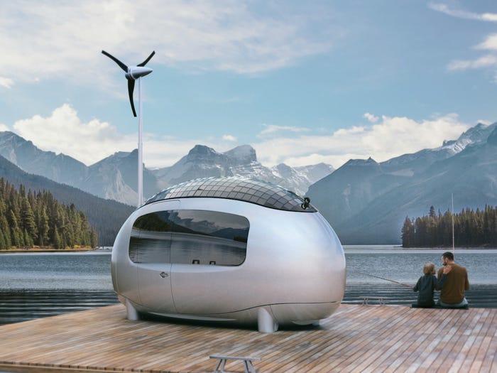A capsula sustentável é construída com isolamento de espuma, fibra de vidro e aço.