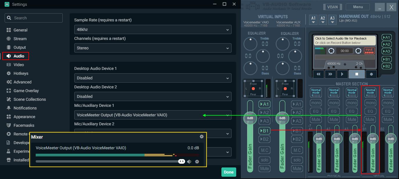 O Voicemeeter possui integração com outros programas como Streamlabs