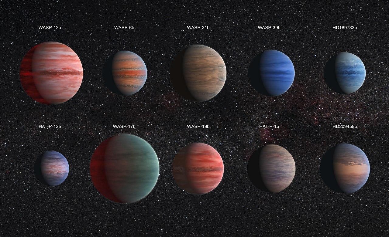 Alguns dos Júpiteres Quentes já catalogados pelos astrônomos