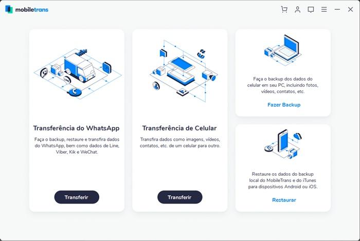 Programa oferece diferentes opções de transferência e backup