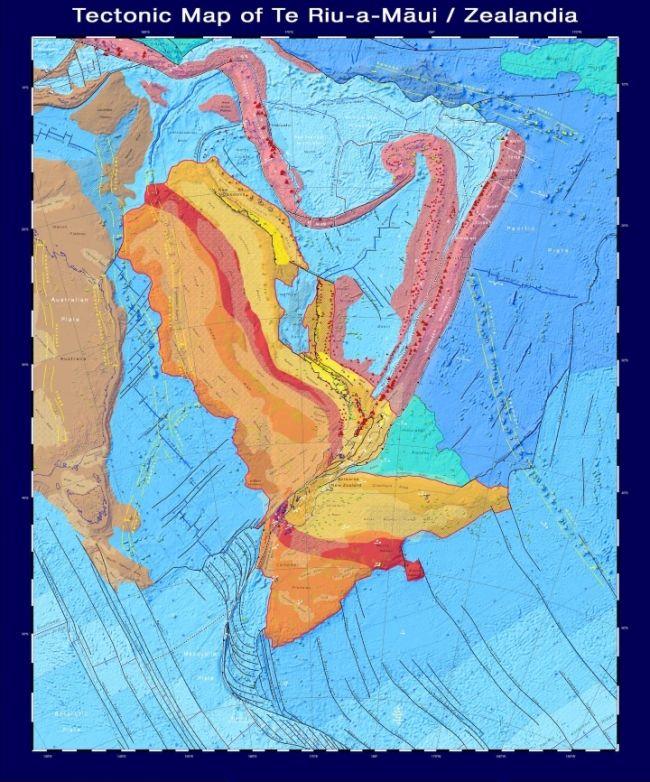 O mapa detalhado do novo continente. (Fonte: GNS Science)