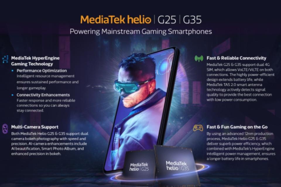 MediaTek lança chips Helio G35 e G25 para celulares abaixo de US$ 100