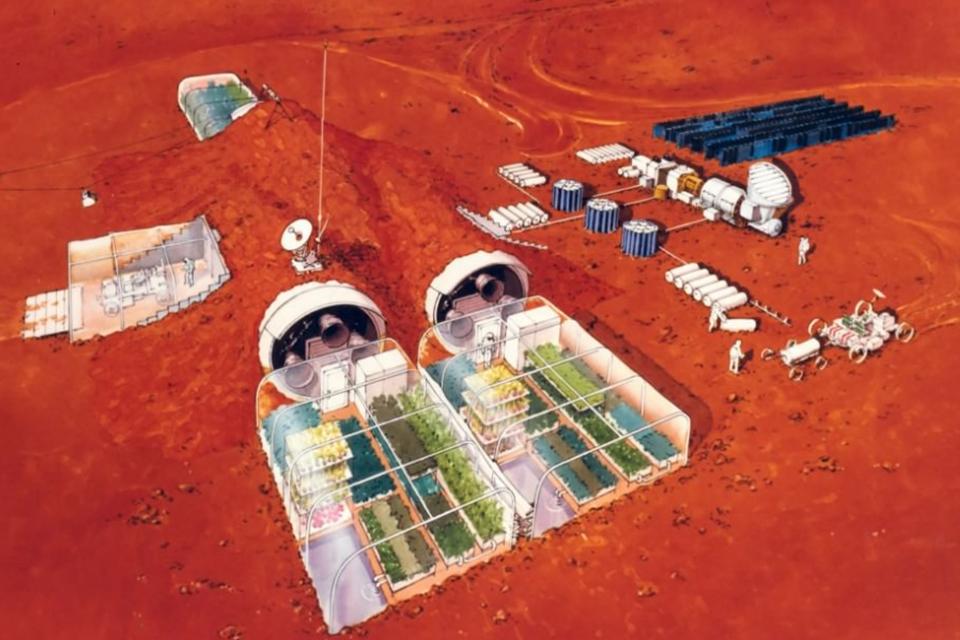 Arte conceitual da montagem das atividades humanas em Marte.