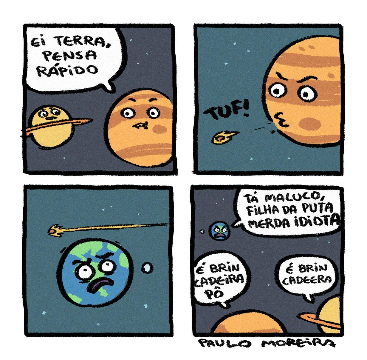 [SE NÃO PUDER ESSA TIRINHA, SUGIRO A OPÇÃO 2] Júpiter volta e meia sai jogando asteroides pelo Universo.