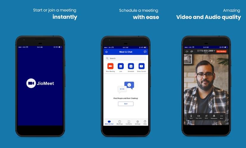A interface mobile do JioMeet.