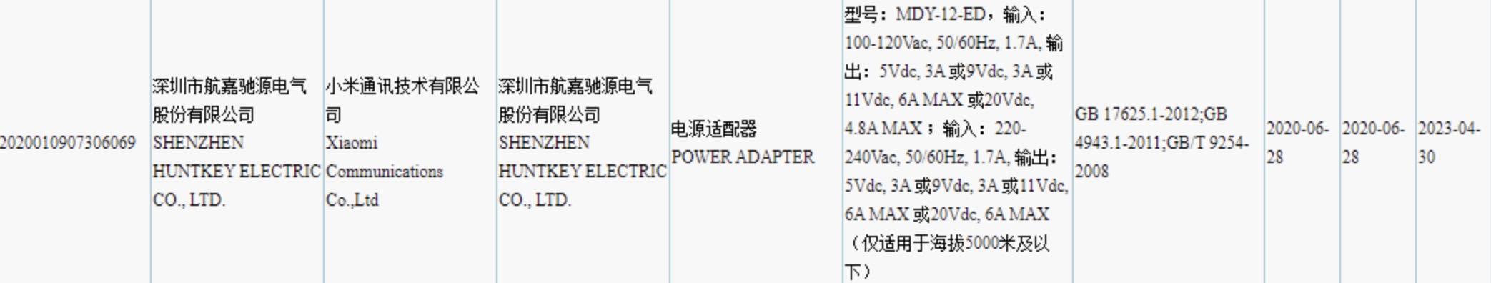Certificação de carregador com 120W de potência da Xiaomi.