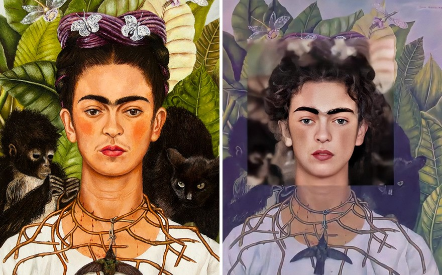 Autorretrato, de Frida Kahlo. Obra produzida em 1940 pela artista mexicana. (DenisShiryaev/Reprodução)